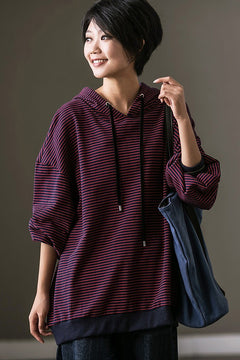 Stripe Casual Hoodie Women's Fleece Jacket For Womens