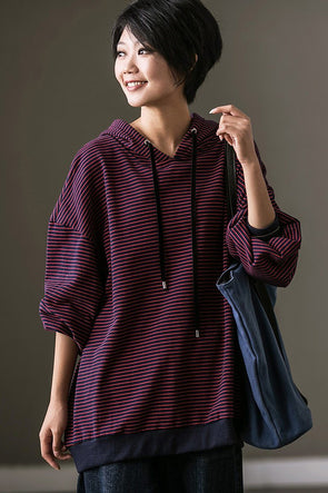 Stripe Casual Hoodie Women's Fleece Jacket For Womens - FantasyLinen