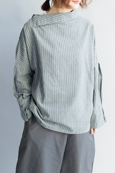 FantasyLinen Cotton Stripe Loose Shirt, Literary Shirt in Grey Q3026 - FantasyLinen