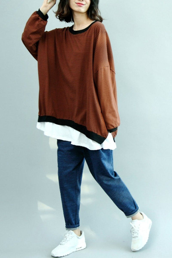 FantasyLinen Loose Stripe Shirt, Cotton Causal Plus Size Shirt in Coffee Q3027 - FantasyLinen