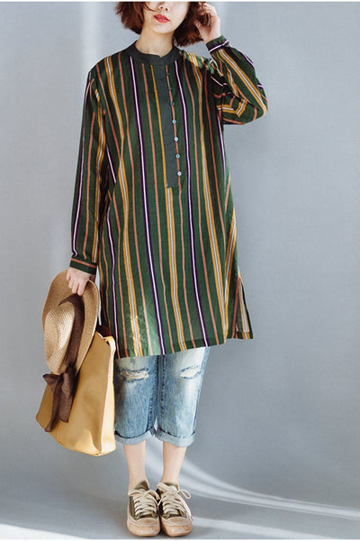 FantasyLinen Loose Stripe Mid Length Shirt, Cotton Colorful Shirt Q3022