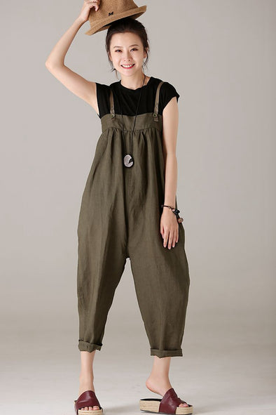 Loose Cotton Linen Suits Simple T Shirt With Long Overalls U8139