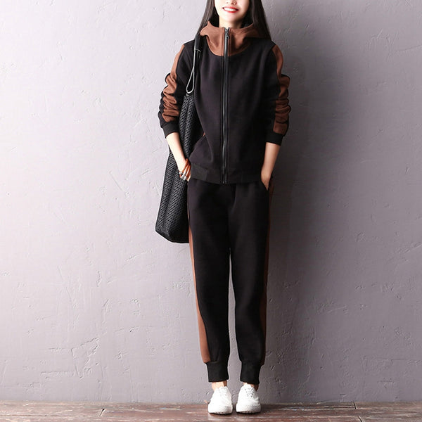 Women Casual Brushed Suit Hoodie Coat With Loose Pencil Pants S2210