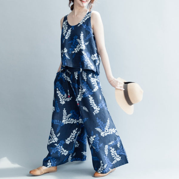 Printed Loose Blue Linen Pants Women Trousers S3048