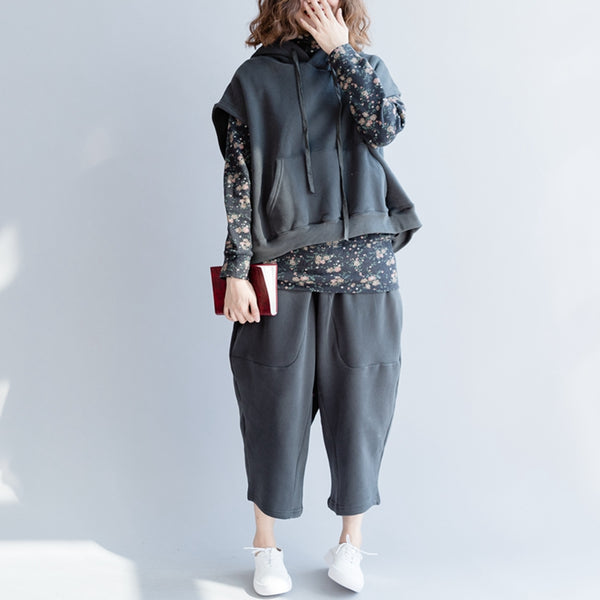 Winter Loose Brushed Suit Hoodie Tops With Harem Pants S2212