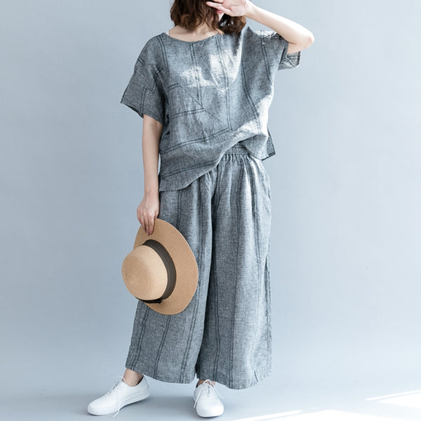 Casual Striped Two Piece Suit Round Neck T Shirt With Wide Leg Pants S2955 - FantasyLinen