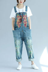 Blue Vintage Floral Printed Loose Denim Jumpsuits Q6512