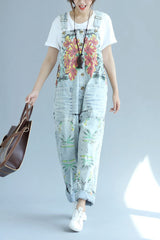 Sky Blue Vintage Floral Printed Loose Denim Jumpsuits Q6512