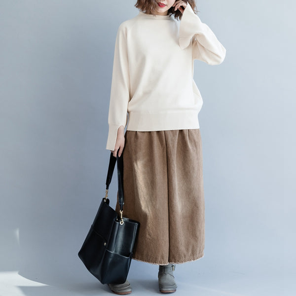 Cute Pure Color High Neck Loose Sweater For Women M5114