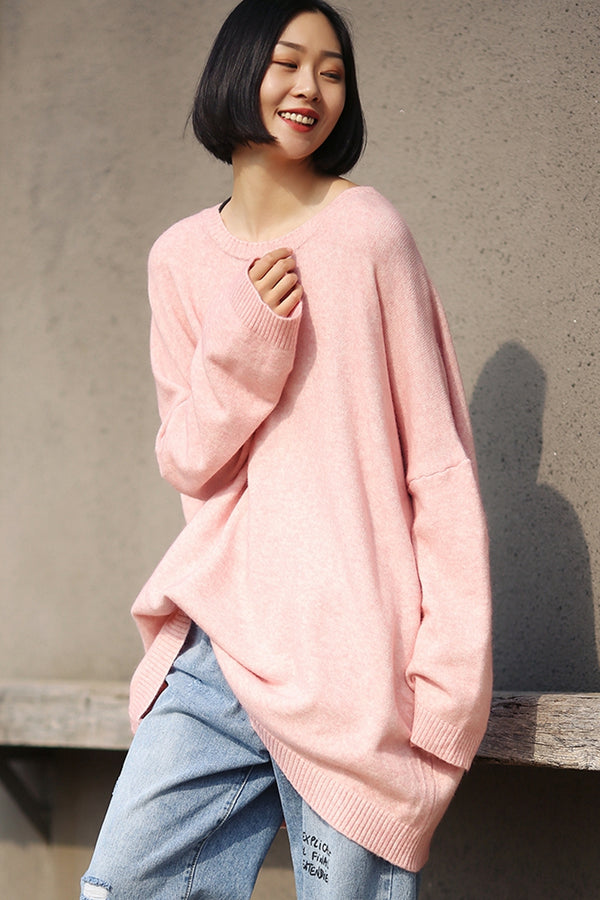 Loose Pure Color Base Sweater Women Casual Tops For Fall M0110
