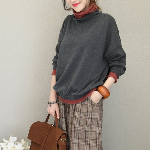 Casual Quilted Color High Neck Base Sweater For Women Q1723