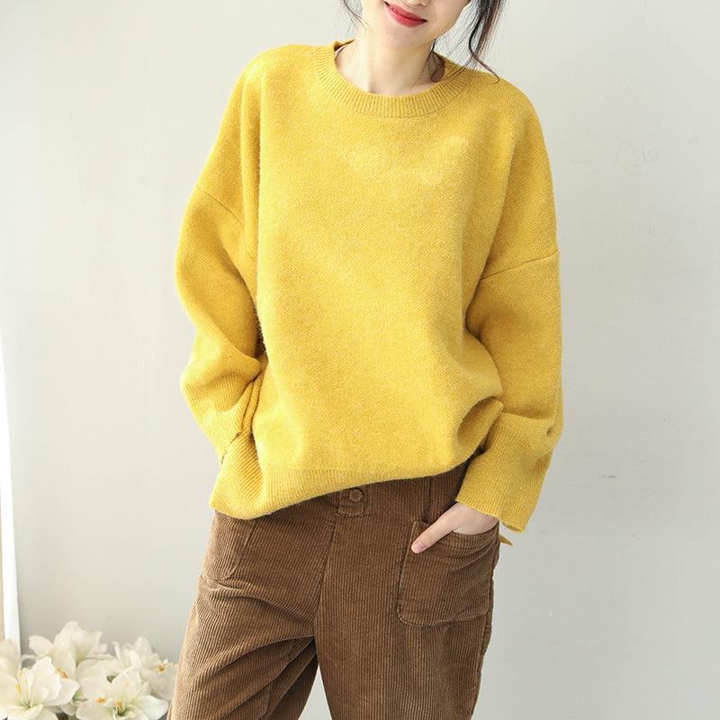 Women Loose Cute Candy Color Sweater Casual Winter Tops