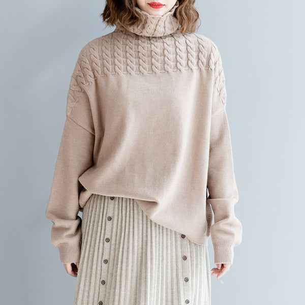 Casual Loose High Neck Wool Warm Sweater For Women M2490