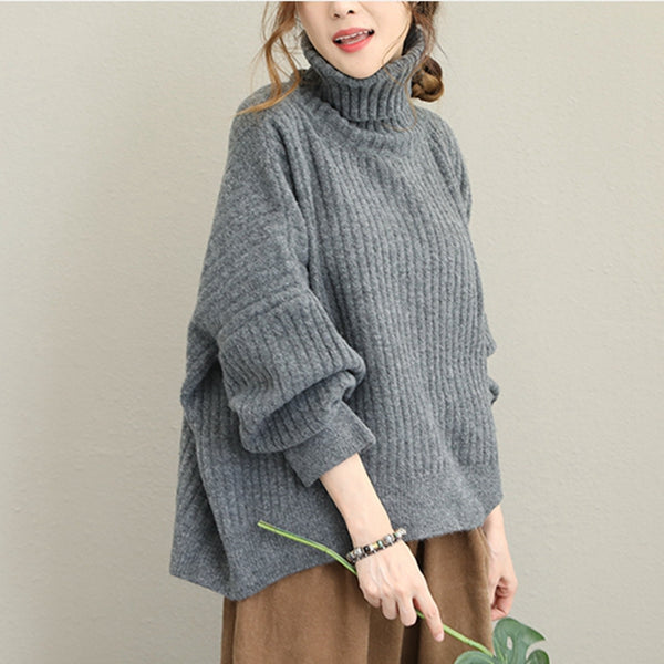 Korea Style High Neck Sweater Women Warm Tops Q1632