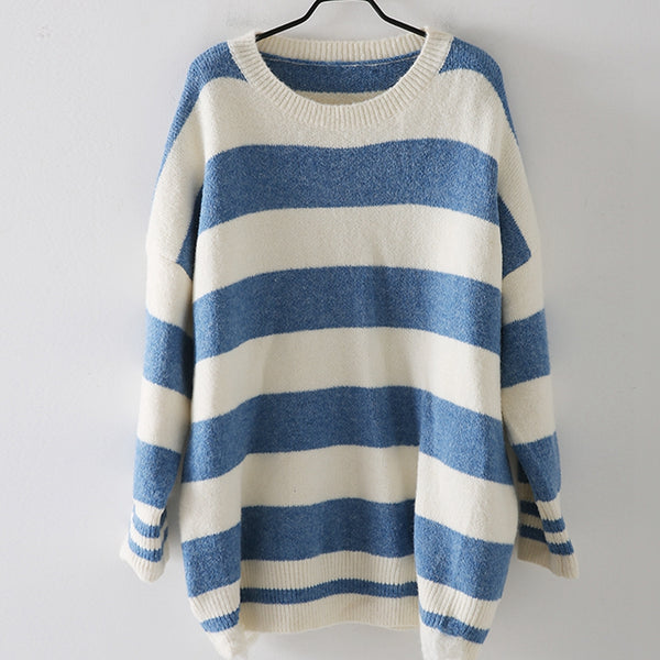 Women Black And Blue Loose Striped Sweater Casual Tops M9377