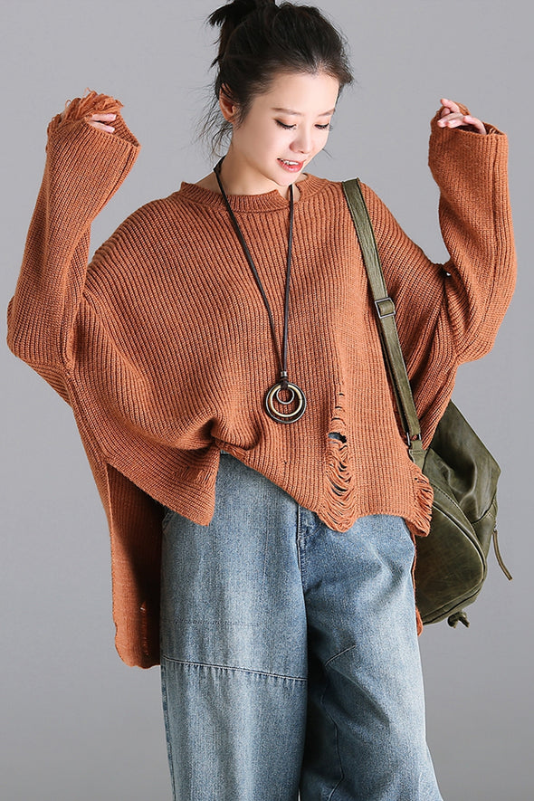 Casual Hole Loose Sweater Women Fall Tops M3350