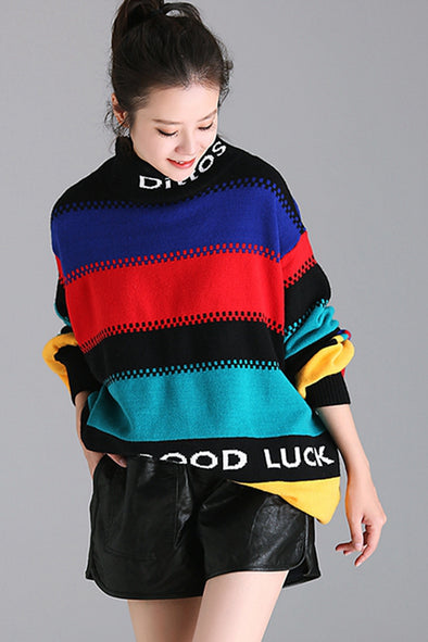 4ec434abb2 Colorful Striped High Neck Casual Warm Sweater For Women M3235