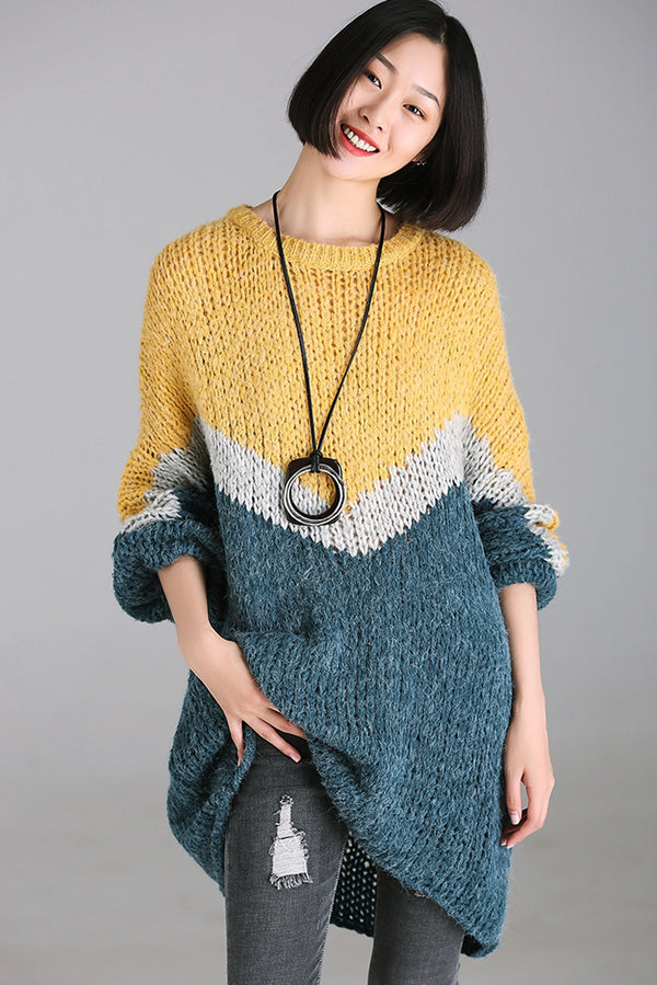 Fall Quilted Color Casual Long Sweater For Women M6663