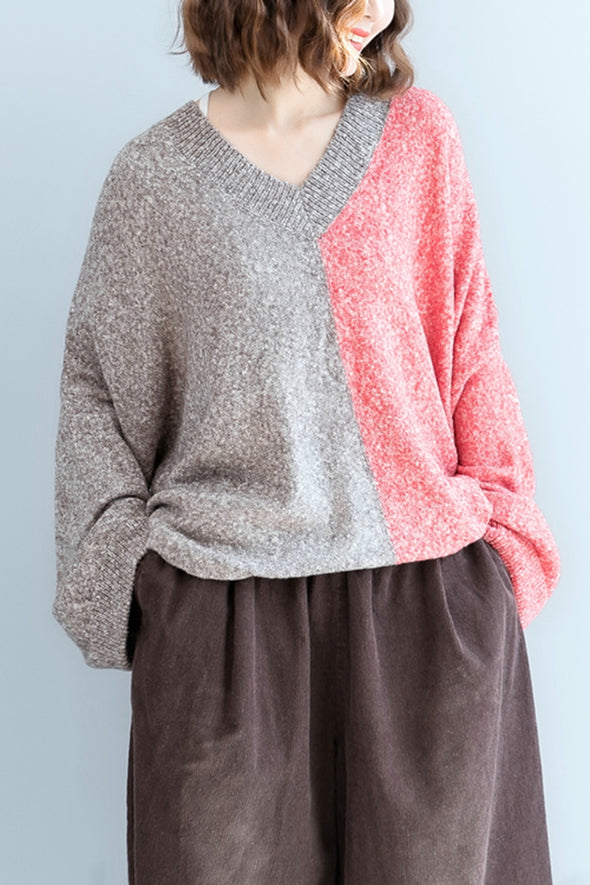 Casual Loose Quilted Color Sweater For Women M1101