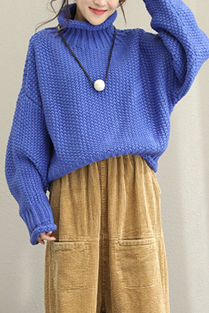 Loose Casual High Neck Wool Sweater For Women Q1505