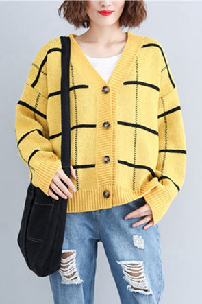 Fashion Plaid Knitted Sweater Women Tops For Autumn S3094
