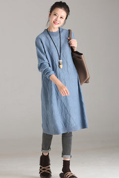 Fashion Blue Long Sweater Dresses Women Fall Clothes Q6119