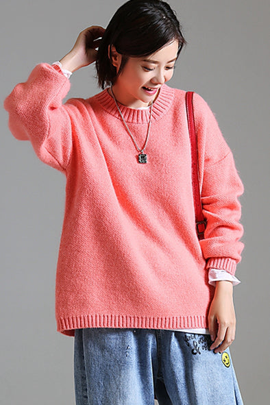 Loose Pure Color Sweater Women Warm Tops For Winter M6660