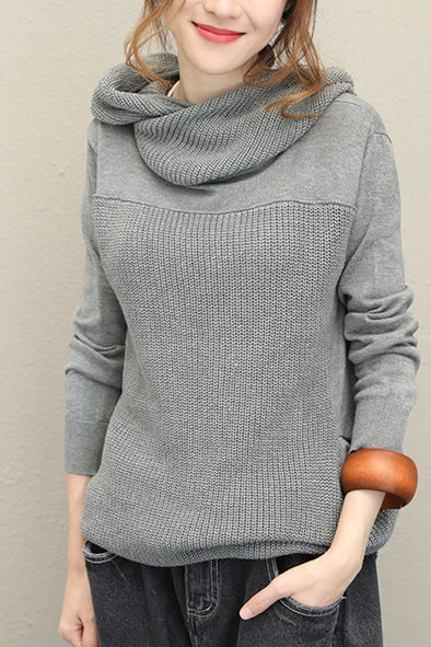 Loose High Neck Hoodie Cotton Sweater For Women Q1526