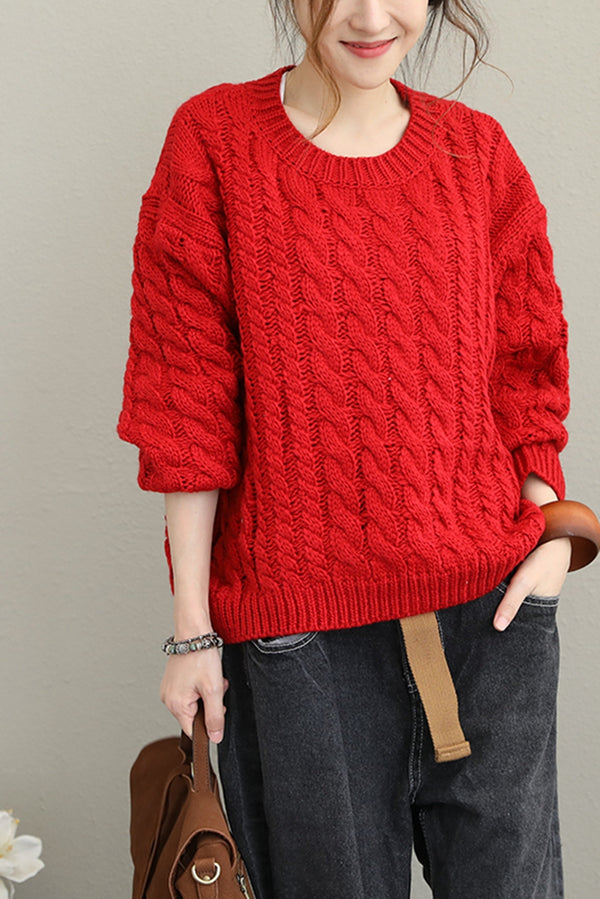 Loose Korea Style Thicken Sweater Women Casual Warm Tops Q1639