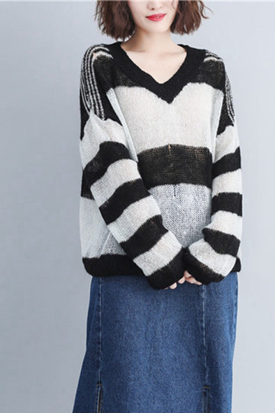 Korea Style Cute Loose Striped Sweater For Women S3092