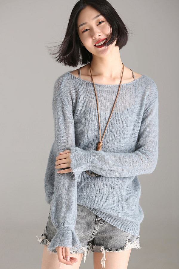 Women Fall Cute Gray Sweater Autumn Warm Tops M8521