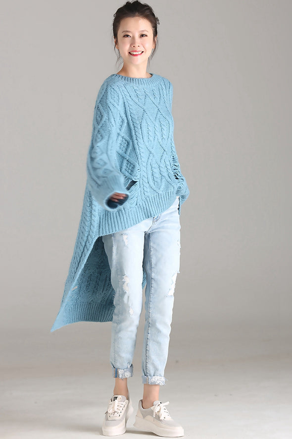 Blue Casual Long Sweater Women Warm Fall And Winter Tops M6313