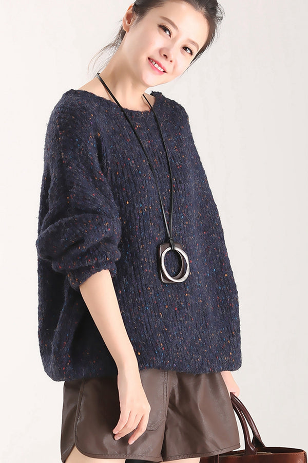 Casual Navy Blue Sweater Women Warm Tops M9307