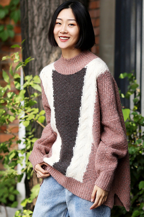 Loose Quilted Color High Neck Sweater For Women M8139