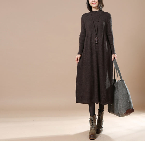 Loose Gray Cotton Sweater Women Long Clothes For Winter 1269