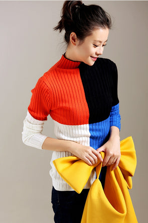 Fashion High Neck Quilted Color Fitted Sweater For Women Z3232