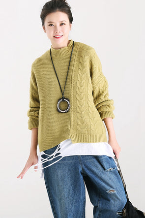 47583d6061 Green Knitted Warm Sweater Women Casual Thicken Tops M2210
