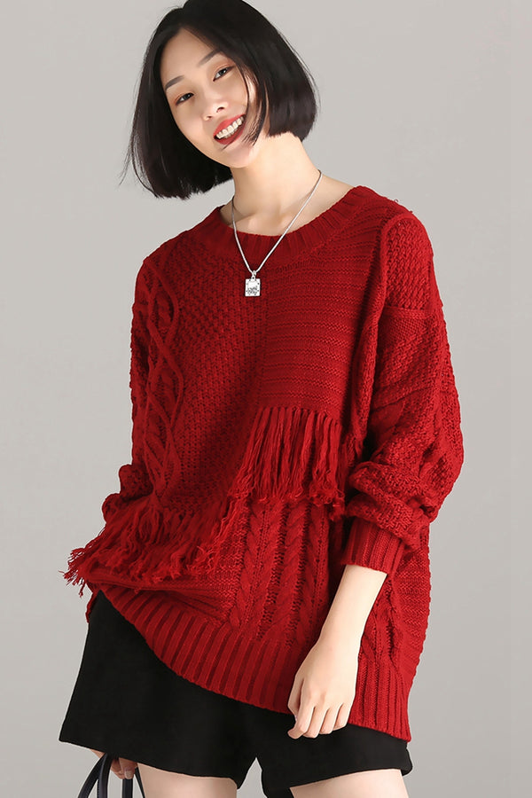 Red Loose Quilted Long Sleeve Sweater For Women M7806