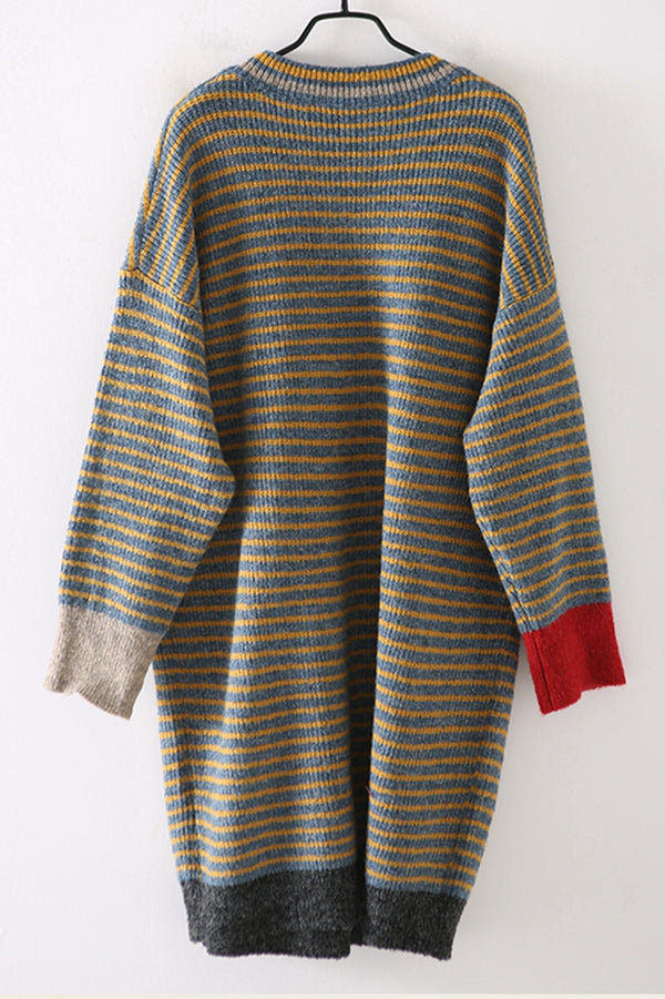 Vintage Casual Yellow Striped Long Sweater For Women M2352