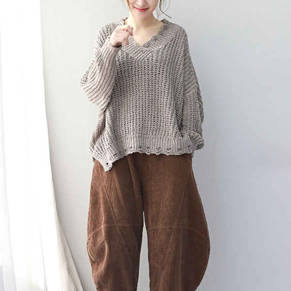Loose V Neck Hole Comfort Knitwear For Women QT582