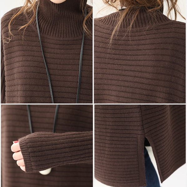 Women Casual Loose High Neck Long Sweater QT285
