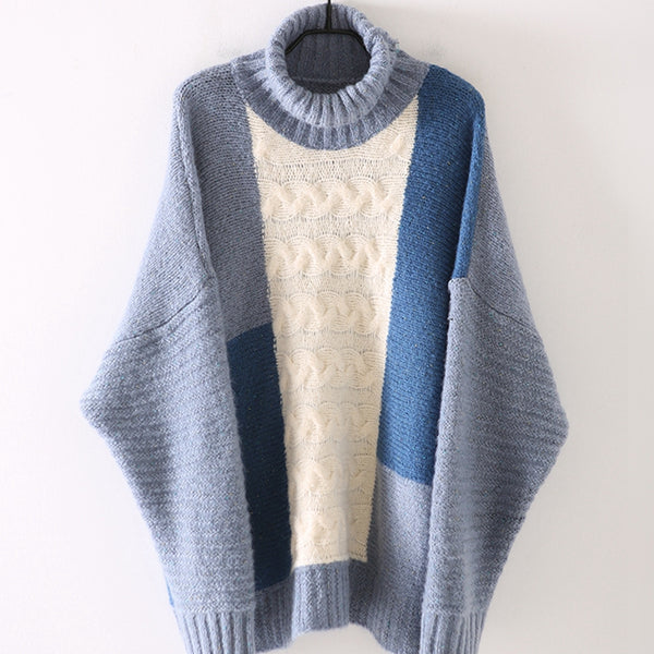 Loose High Neck Quilted Color Thicken Sweater For Women M1811