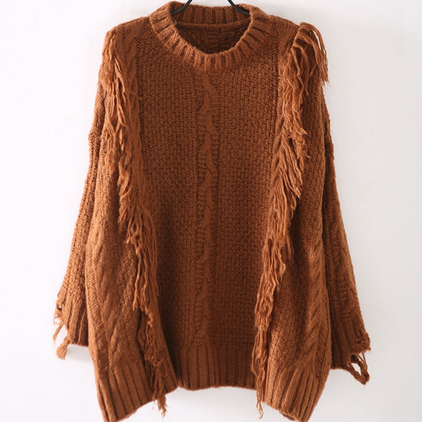 Fashion Loose Coffee Sweater Women Casual Warm Tops M8132