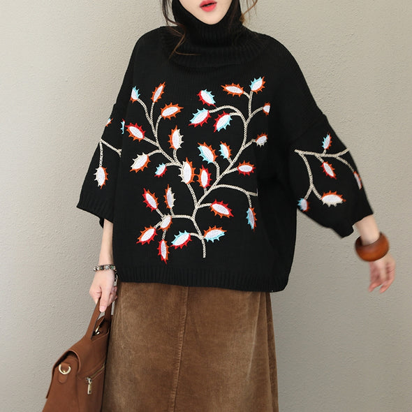 Black Vintage High Neck Embroidery Thicken Sweater For Women Q1728