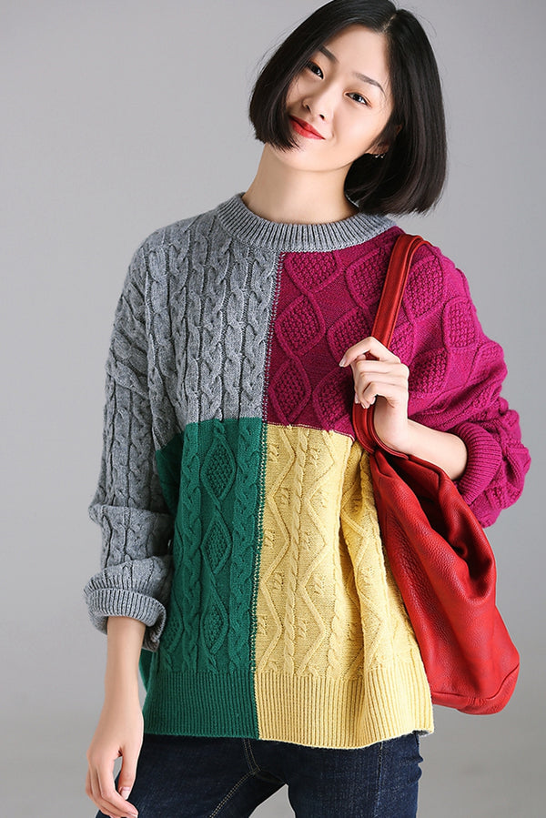 Cute Loose Multicolor Thicken Sweater Women Warm Tops M3339