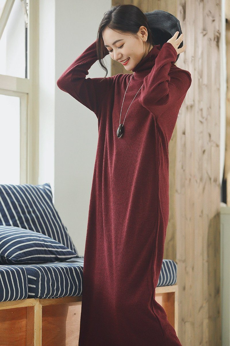 Turtleneck Wool Maxi Loose Woolen Dresses For Womens Q2491