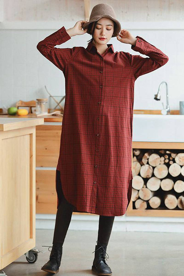 Red Linen Plaid Casual Loose Shirt Dress,Winter Long Shirt for Women - FantasyLinen