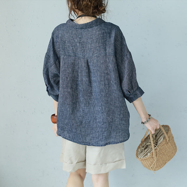 Fashion Loose Linen T Shirt Women Casual Blouse Q1138