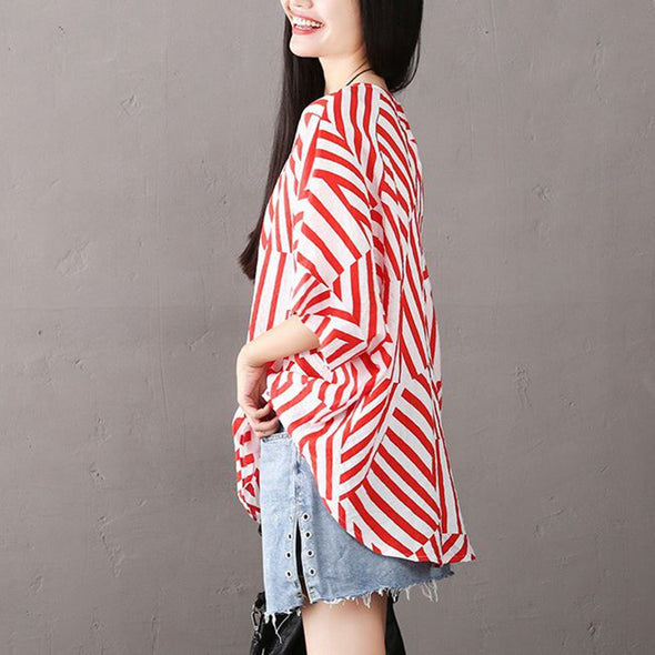 Fashion Striped Linen T Shirt For Women Summer Loose Blouse S1862