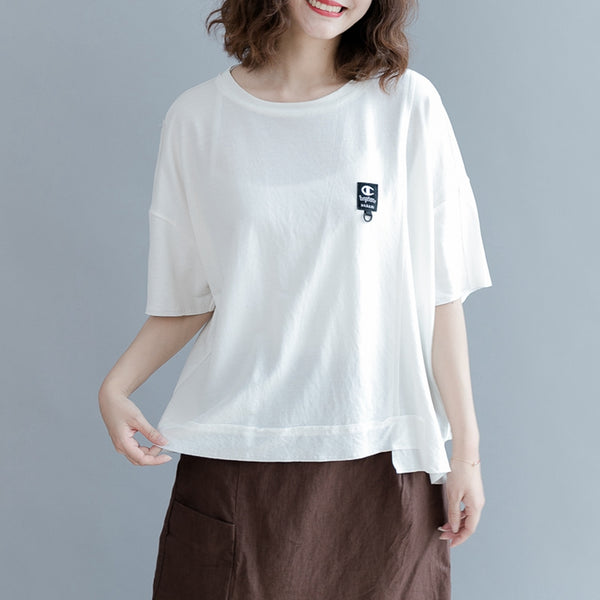 Simple Round Neck Cotton T Shirt Women Tops S2951